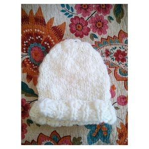 White Knit Beanie Hat